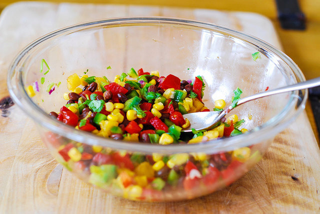 Southwestern salsa with black beans, corn, and pineapple