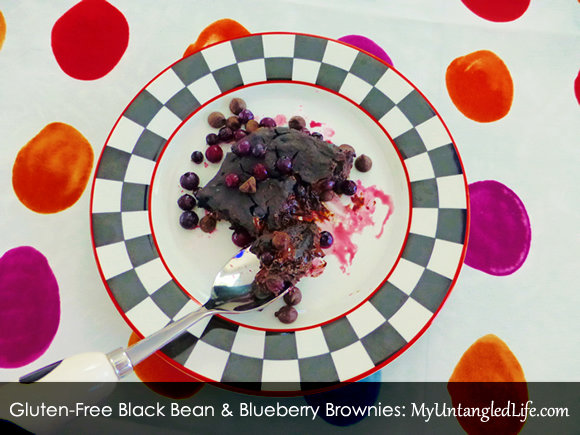 Gluten-Free Black Bean and Blueberry Brownies