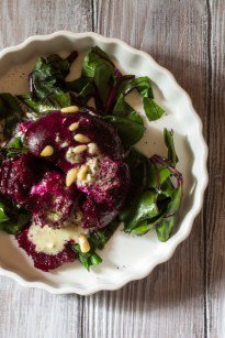 Smashed Roasted Beets with Goat Cheese Dressing