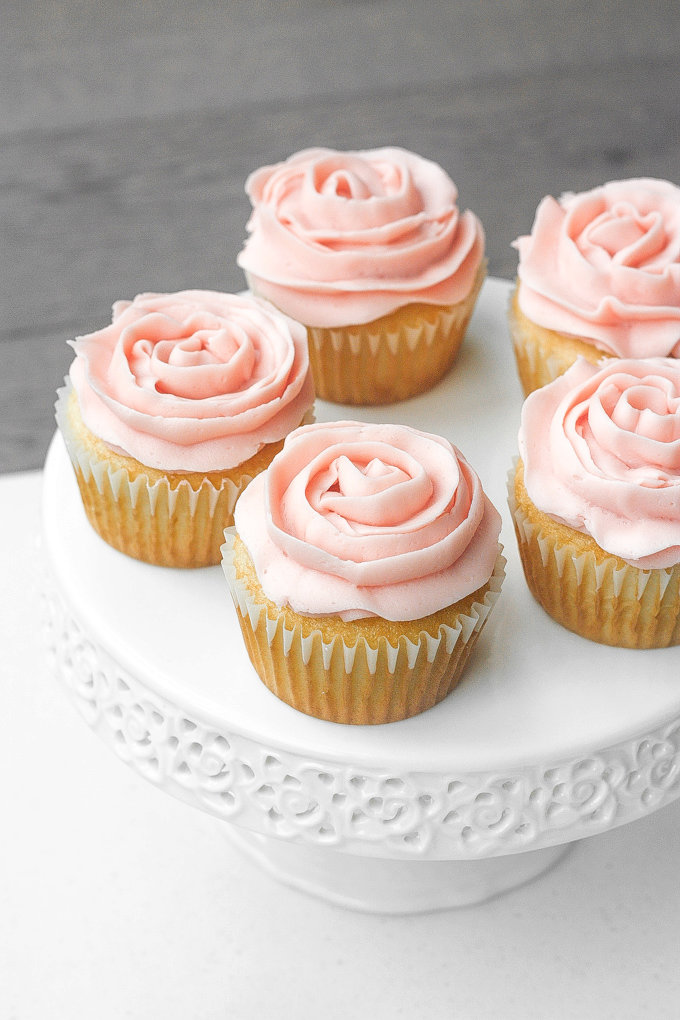 Mother\'s Day Vanilla Cupcakes with Rose Petal Buttercream Icing