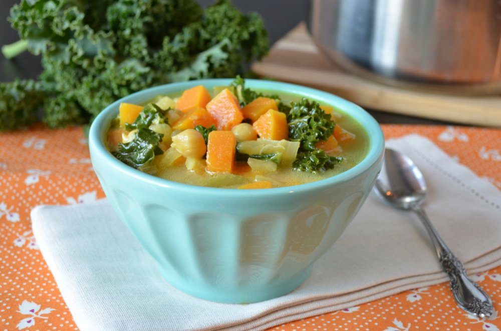 Butternut, Chickpea and Kale Soup with Tahini Broth
