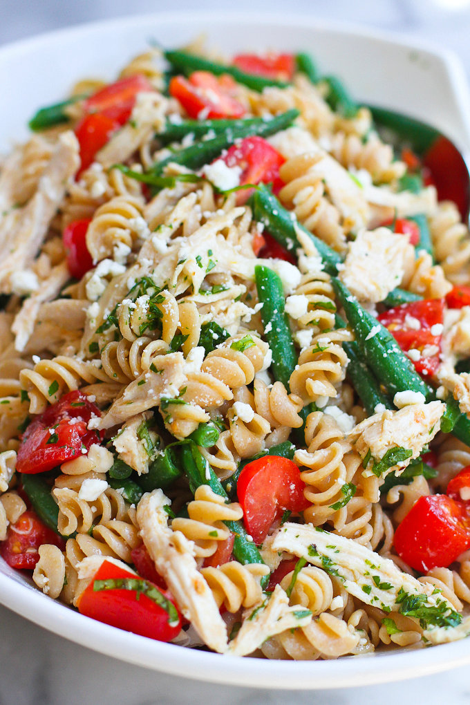 Chicken Pasta Salad with Green Beans, Tomatoes & Feta Cheese