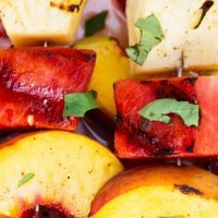Grilled Fruit Kabobs with Cinnamon Honey Glaze