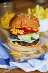 Double Beef Burger with Corn Relish