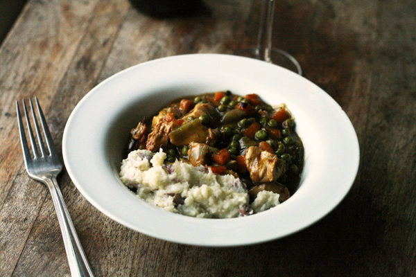 Chicken Leek Stew with Mashed Potatoes