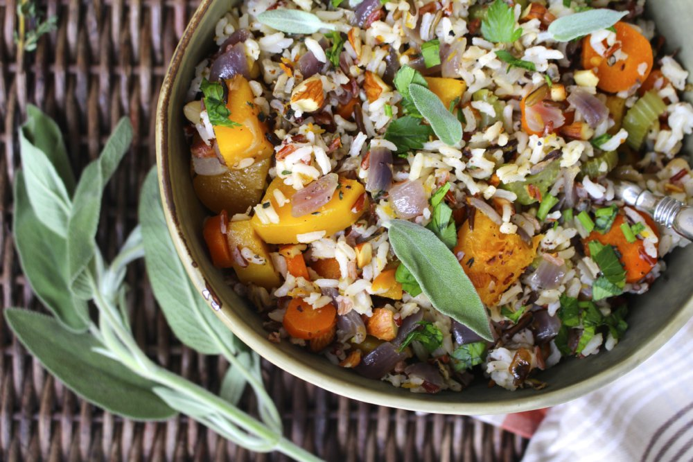 Wild Rice Stuffing with Butternut Squash