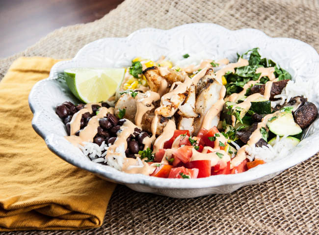 Southwestern Grilled Tilapia Bowl with Chipotle Cream