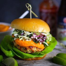 Thai Turkey Burgers with Spicy Carrot Ginger Sauce