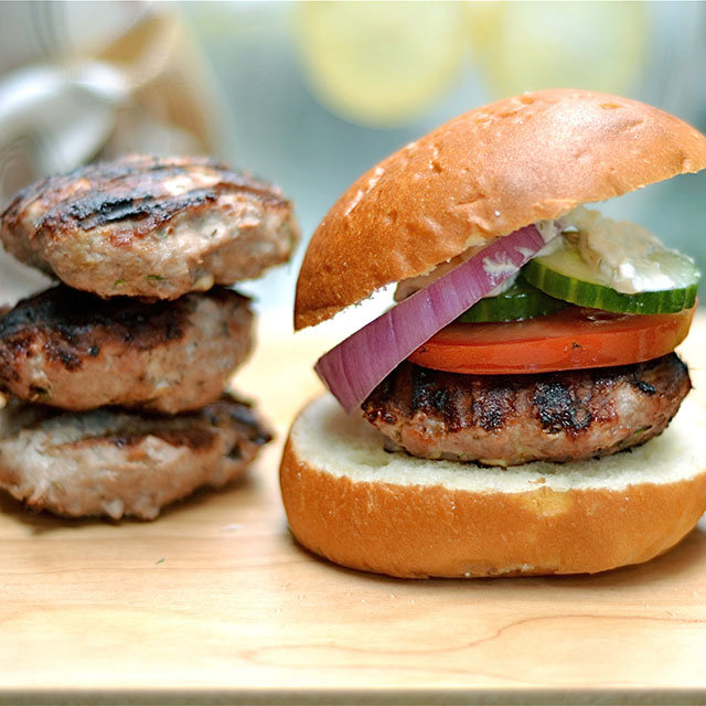 Grilled Greek Turkey Burgers with Whipped Feta