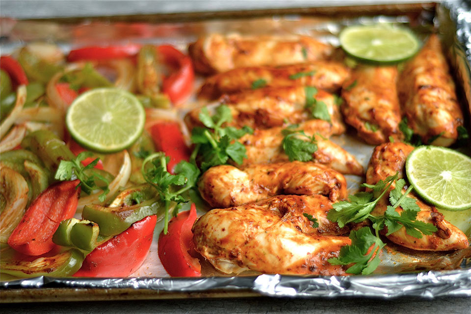 Sheet Pan Chipotle Cilantro Chicken Fajitas
