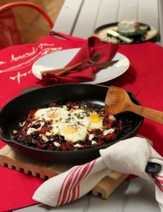 Eggs baked with Chard & Goats' Cheese