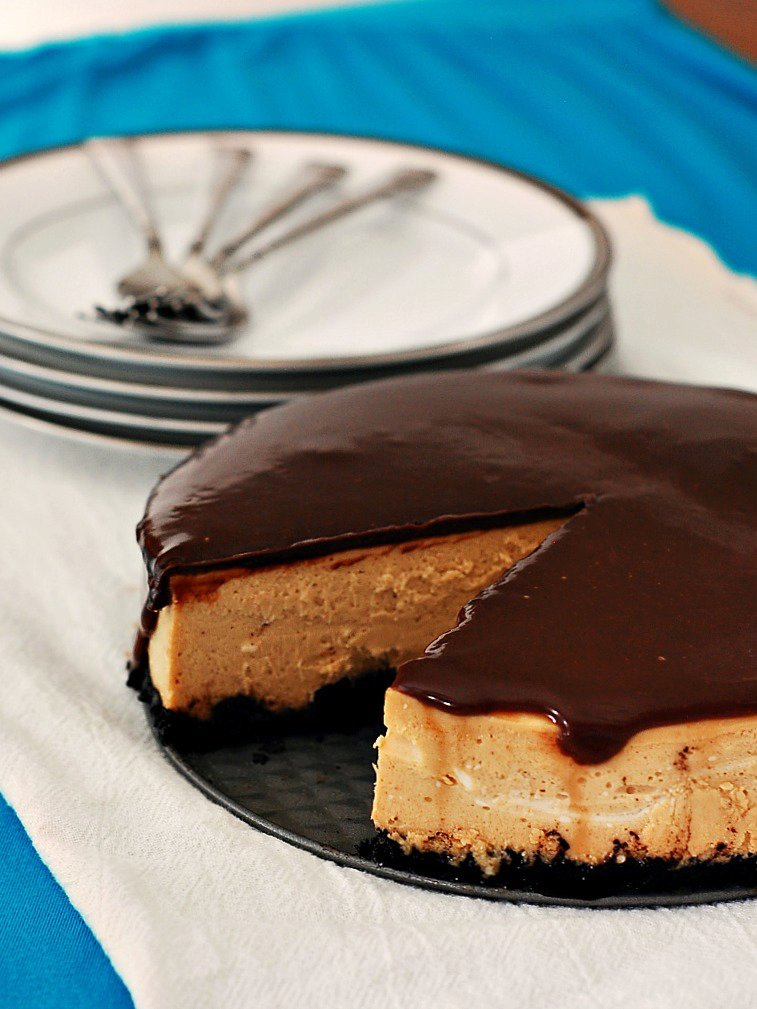 Peanut Butter Cheesecake with Ganache Topping
