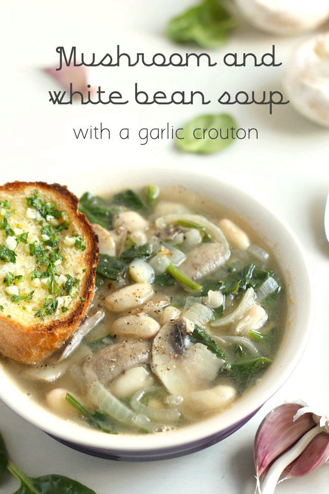 Mushroom and white bean soup with a garlic crouton