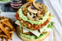 Spicy Double Salmon Burger + Avocado Mayo + Caramelized Onions & Mushrooms