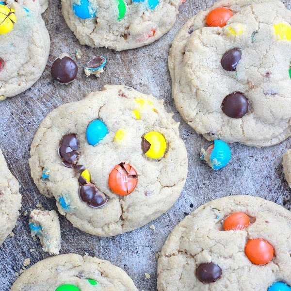 Ultra Thick and Soft Peanut Butter M&M Cookies