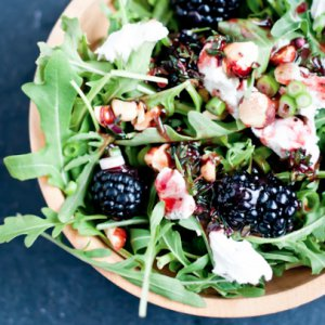 Arugula Salad with Blackberries and Chevre with Blackberry-Thyme Vinaigrette
