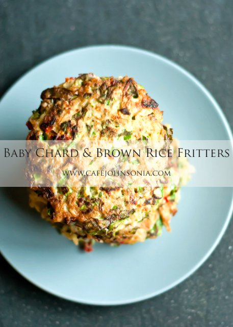 Baby Chard and Brown Rice Fritters