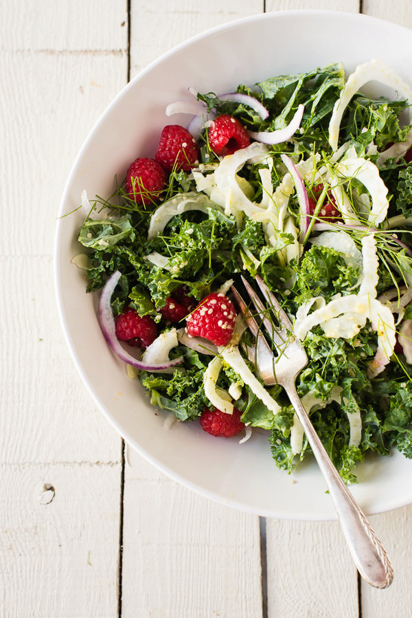 Raw Kale Salad with Berries