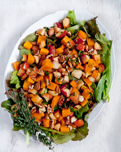 Roasted Butternut Salad with Apples and Thyme Vinaigrette