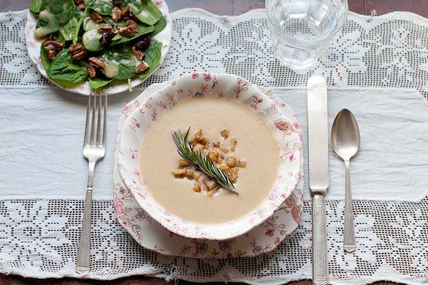 Roasted Pear Parsnip Soup with Rosemary-Balsamic Caramelized Pears