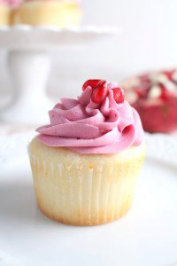 Pomegranate Cupcakes - White Cake with Pomegranate Buttercream