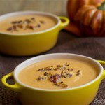 Pumpkin Soup with Bacon and Parmesan Crumbles