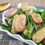 Asparagus with Roasted Potatoes, Seared Lemon, and Mint