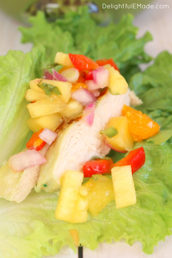 Spicy Chicken Lettuce Wraps with Pineapple Mango Salsa