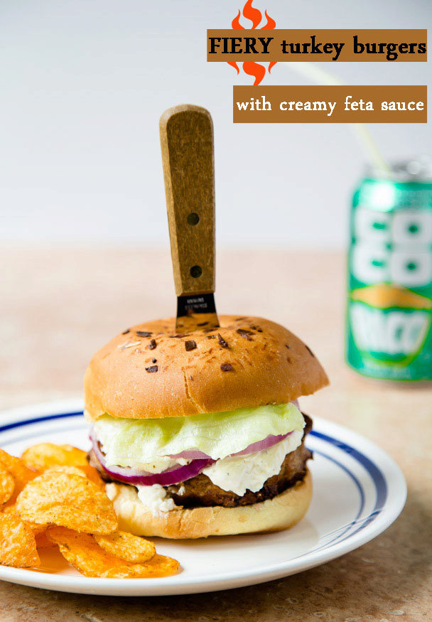 Dinner for Two: Fiery Turkey Burgers with Creamy Feta Sauce