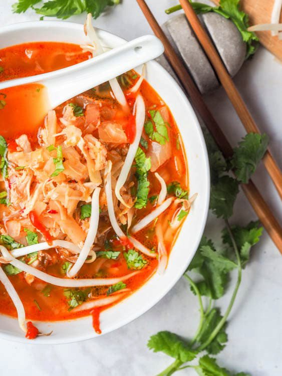 Korean Soup with Chicken, Cabbage and Kimchi {GF, DF}