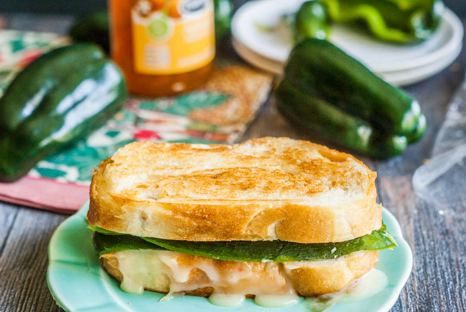 Apricot Poblano Grilled Cheese Sandwich
