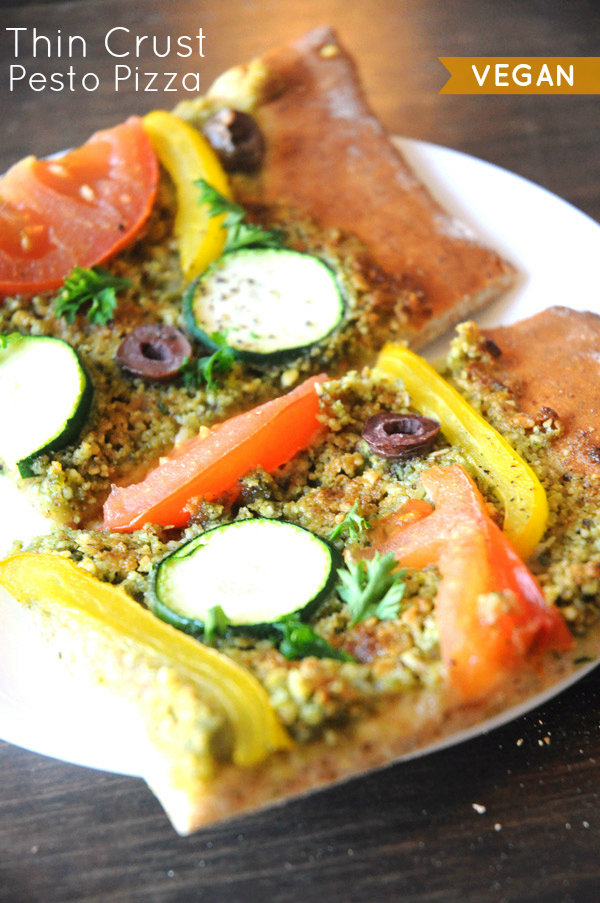 Thin Crust Pesto Pizza