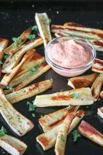 Baked Parsnip Fries with Chipotle Dipping Sauce