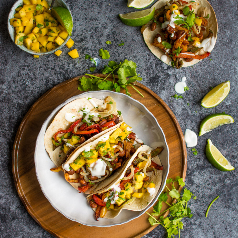 One Tray Bean Tacos with Fresh Mango Salsa