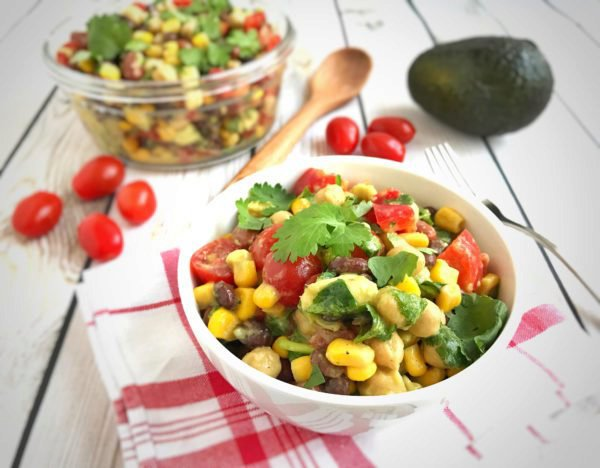 3 Bean Avocado Salad with Lime Dressing