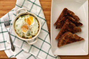 baked eggs with spinach and ricotta
