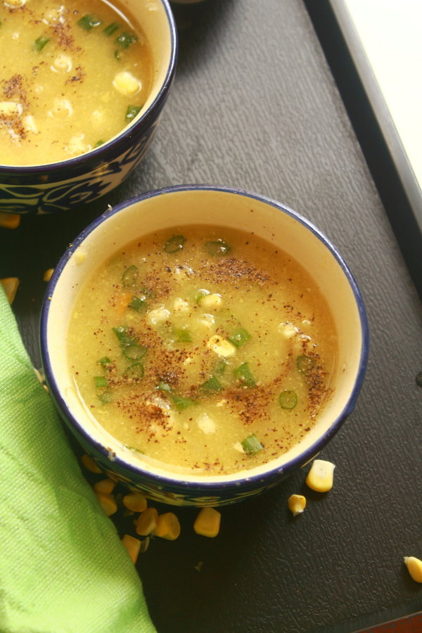 sweet corn soup recipe | sweet corn and vegetable soup recipe