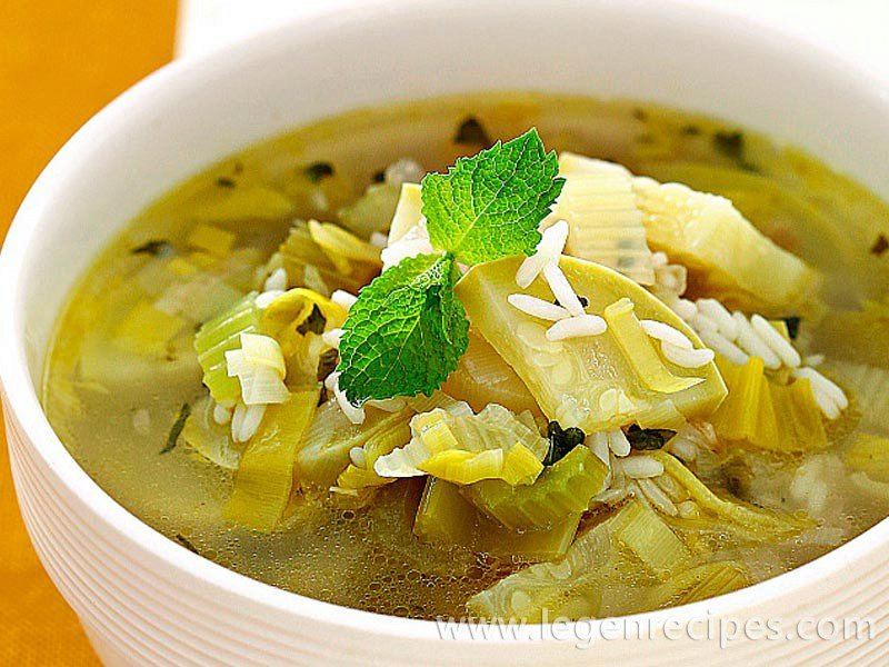 Rice soup with celery and mint