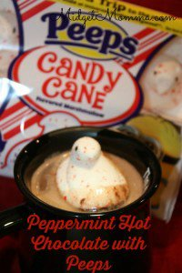 Peppermint Hot Chocolate with Peeps