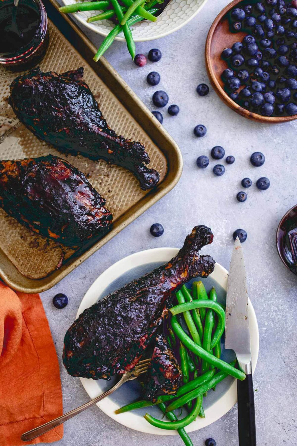Blueberry Balsamic BBQ Turkey Legs