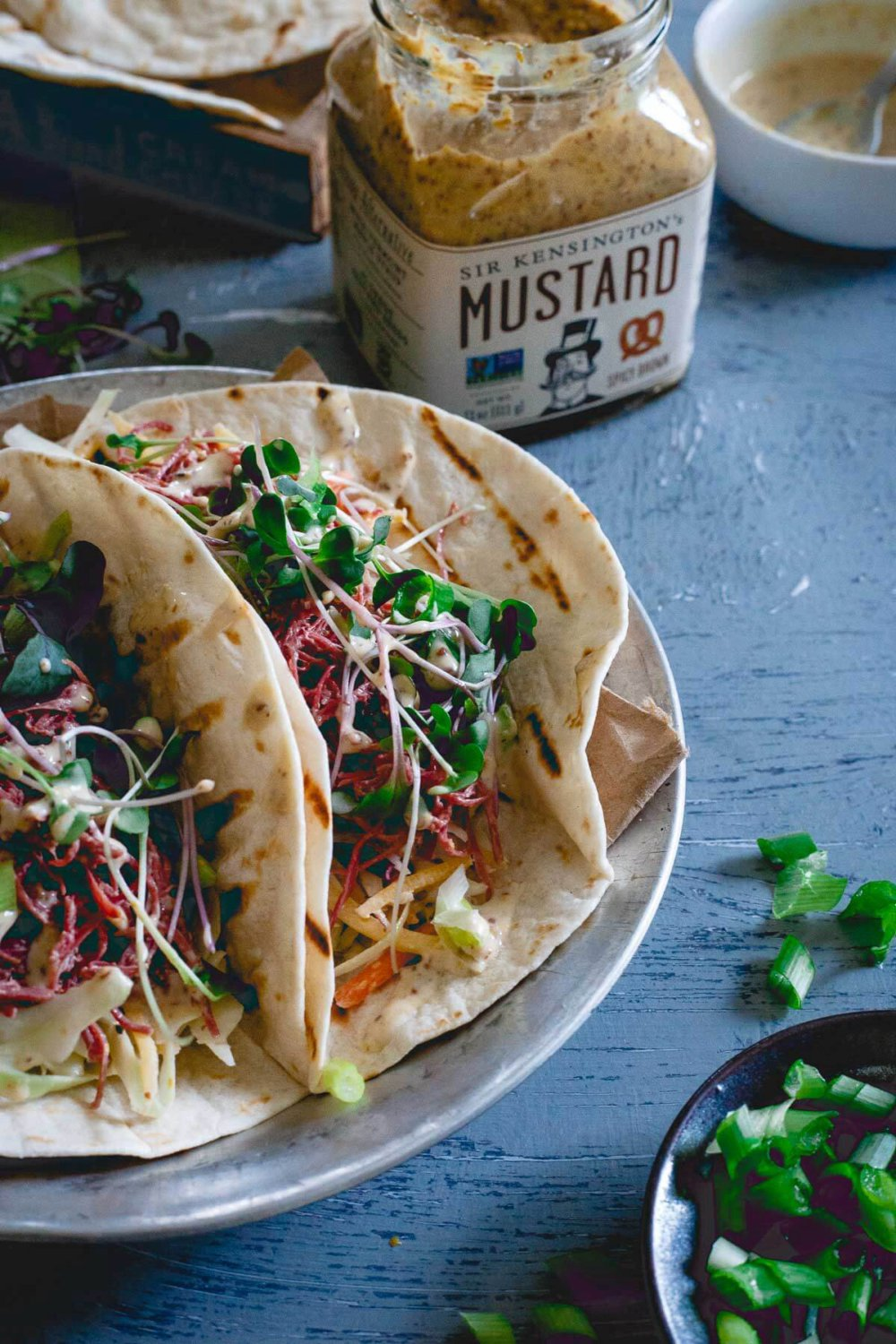 Corned Beef Tacos with Creamy Spicy Mustard Sauce