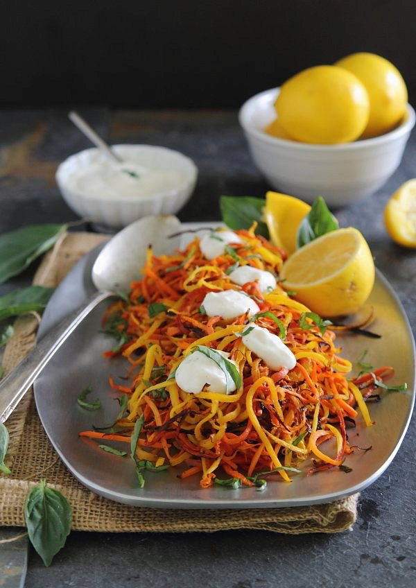 Meyer lemon roasted carrot strings with lemon garlic sauce