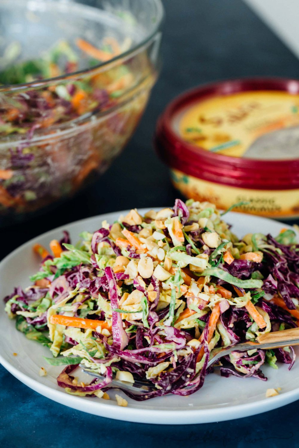 Cabbage Slaw with Creamy Hummus Dressing