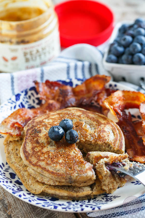 Blueberry Peanut Butter Pancakes for Two (Gluten-Free)