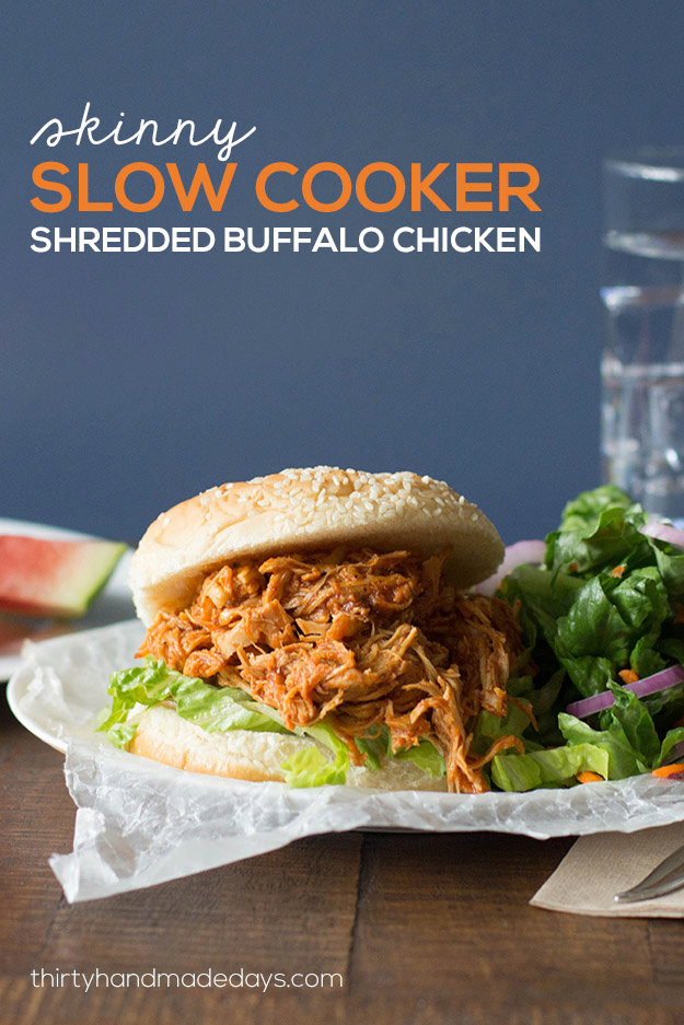 Skinny Slow Cooker Shredded Buffalo Chicken