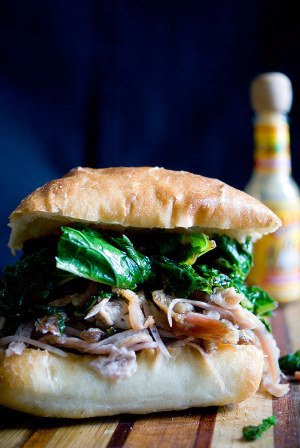 Pulled Pork, Greens and Bacon Sandwich