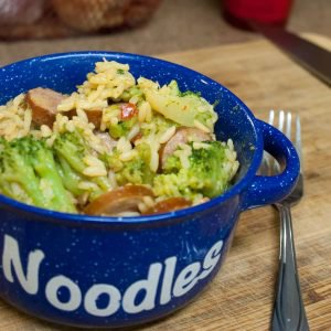 Cheesy Rice with Smoked Sausage & Broccoli - Cook With Your Family