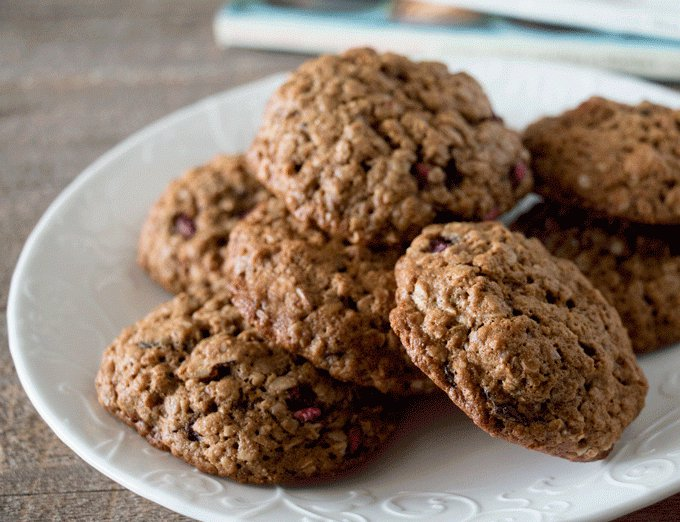 Chocolate, Pecan and Pomegranate Oatmeal Cookies