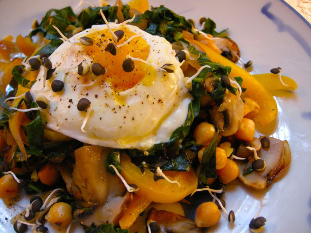 Poached Egg On Sauteed Veggies With Rosemary