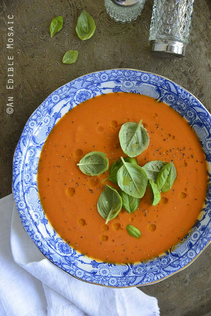 Blushing Strawberry Onion and Tomato Soup, Hot or Chilled